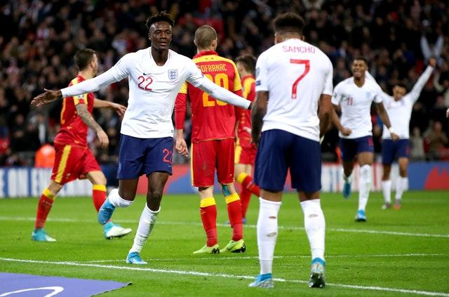 Tammy Abraham celebrates making it 7-0 on a one-sided evening in London