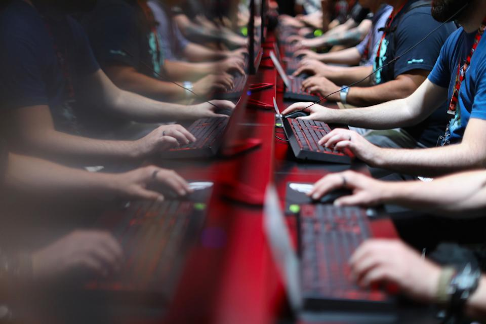 LOS ANGELES, CA - JUNE 13:  Gamers compete in PC gaming at the 'Nvidia' booth during the Electronic Entertainment Expo E3 at the Los Angeles Convention Center on June 13, 2017 in Los Angeles, California.  (Photo by Christian Petersen/Getty Images)