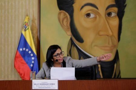 Venezuela's Foreign Minister Delcy Rodriguez talks to the media during a news conference in Caracas