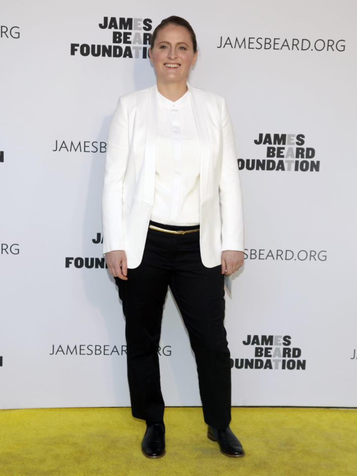 Restaurateur April Bloomfield attends the 2014 James Beard Foundation Awards on Monday, May 5, 2014, in New York. (Photo by Andy Kropa/Invision/AP)
