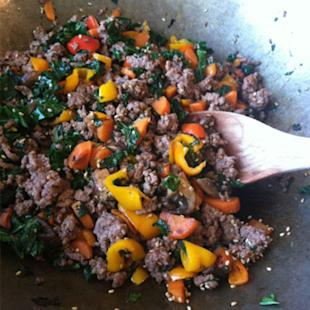 Ground beef stir-fry with coconut black rice.