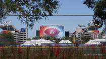 Raymond James Stadium, the site of Super Bowl LV, is shown Thursday, Jan. 28, 2021, in Tampa, Fla. The Tampa Bay Buccaneers play the Kansas City Chiefs on Feb. 7. (AP Photo/Chris O'Meara)