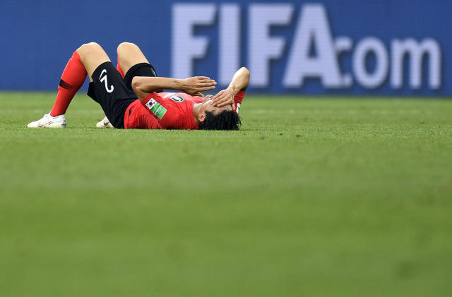 South Korea's Lee Yong reacts at the end of the group F match between Mexico and South Korea at the 2018 soccer World Cup in the Rostov Arena in Rostov-on-Don, Russia, Saturday, June 23, 2018. (AP Photo/Martin Meissner)