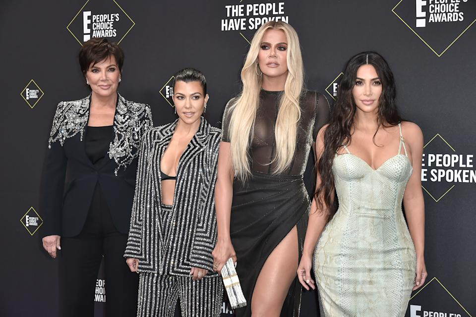 Kris Jenner, Kourtney Kardashian, Khloe Kardashian and Kim Kardashian attend 2019 E! People's Choice Awards - Arrivals at The Barker Hanger on November 10, 2019 in Santa Monica, California.