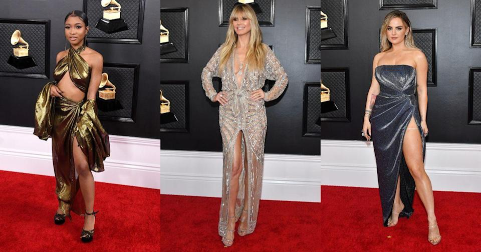 """<p>From Heidi Klum's lingerie-inspired gown to JoJo's hip-high dress split, these are the most naked gowns to grace the <a href=""""https://www.cosmopolitan.com/uk/fashion/celebrity/g30653450/grammys-red-carpet-dresses-2020/"""" rel=""""nofollow noopener"""" target=""""_blank"""" data-ylk=""""slk:2020 Grammy Awards' red carpet"""" class=""""link rapid-noclick-resp"""">2020 Grammy Awards' red carpet</a>.</p>"""