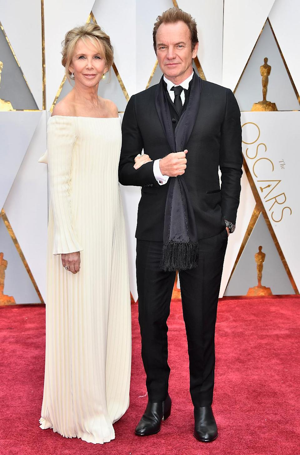 <p>Producer Trudie Styler and musician Sting attend the 89th Annual Academy Awards at Hollywood & Highland Center on February 26, 2017 in Hollywood, California. (Photo by Frazer Harrison/Getty Images) </p>