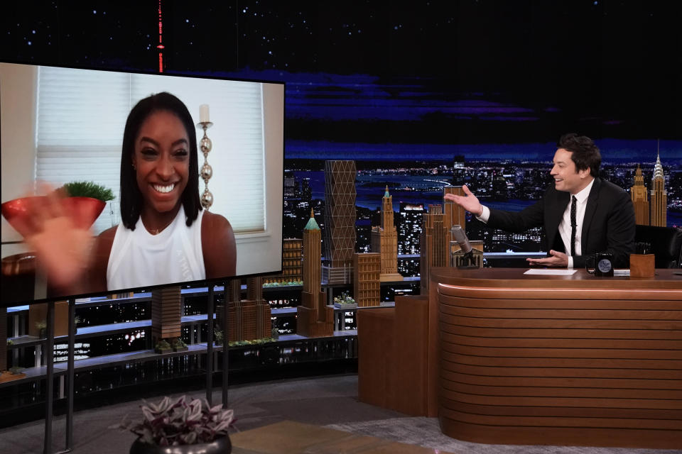 Simone Biles and Jimmy Fallon