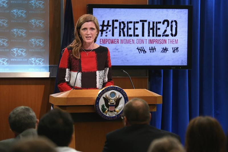 United States Ambassador to the United Nations Samantha Power announces the start of the #FreeThe20 campaign from the State Department September 1, 2015 in Washington, DC