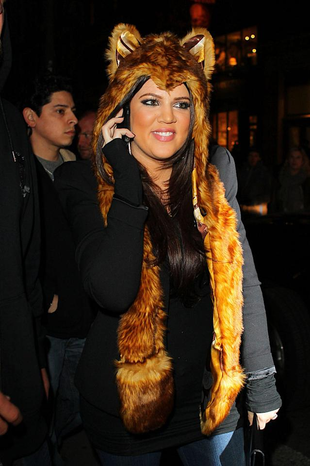 "Meanwhile, Kourtney's younger sister Khloe was spotted out and about (and looking equally absurd) in her own furry headdress, which may or may not have been constructed from Fozzie Bear's pelt. Wagner Az/<a href=""http://www.pacificcoastnews.com/"" target=""new"">PacificCoastNews.com</a> - November 2, 2010"