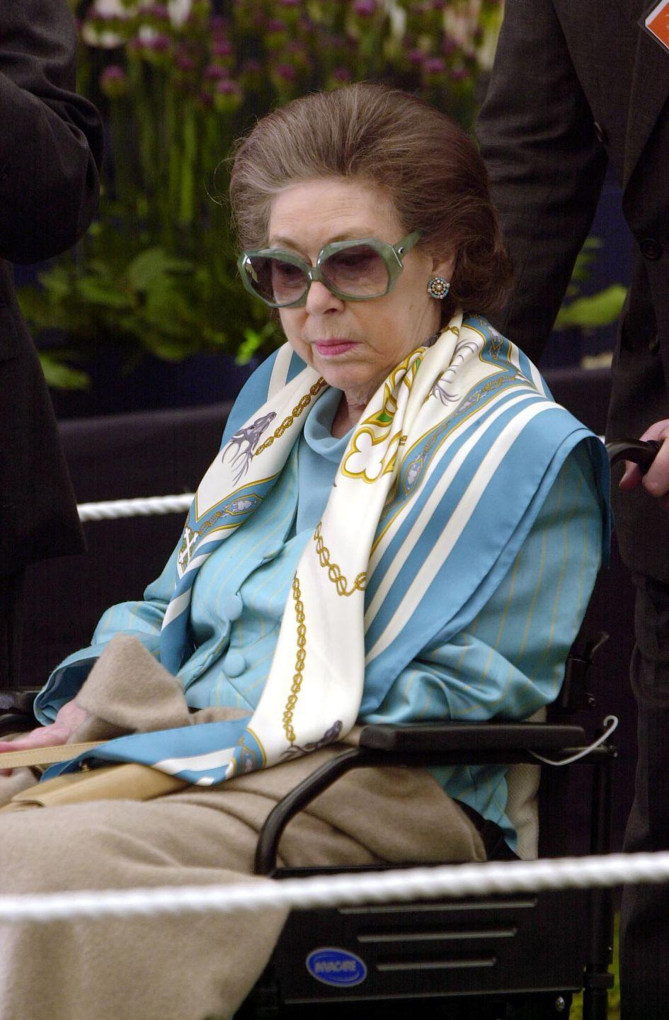 <p>After suffering a stroke, Princess Margaret was momentarily bound to a wheelchair. She made her first post-stroke public appearance at the Chelsea Flower Show in 2001. Margaret died on February 15, 2002. </p>