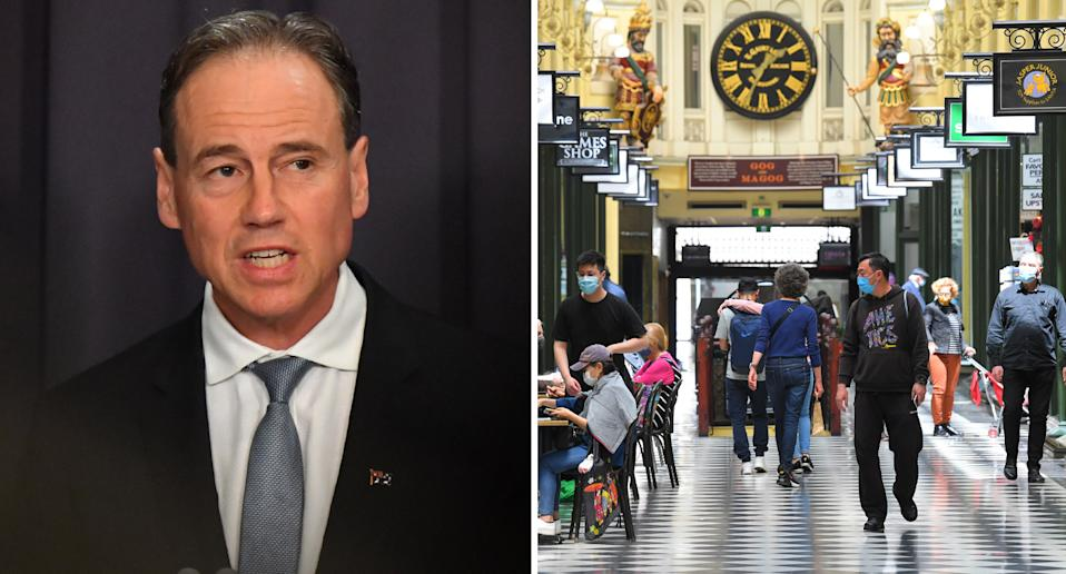Greg Hunt and shoppers inside a mall in Melbourne, Victoria.