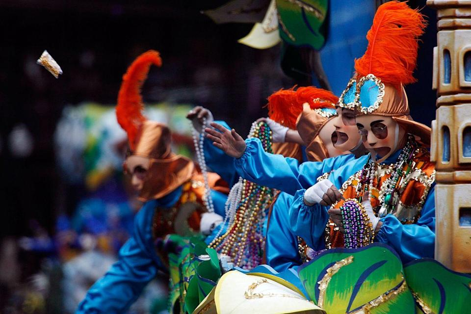 <p>Two years after Hurricane Katrina, tourist flocked to New Orleans during Mardi Gras season to show support for the historically lively city. </p>