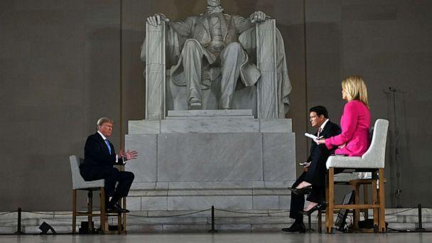 PHOTO: President Donald Trump speaks during a Fox News virtual town hall 'America Together: Returning to Work,' event, with anchors Bret Baier and Martha MacCallum, from the Lincoln Memorial in Washington, D.C., on May 3, 2020. (Jim Watson/AFP via Getty Images)