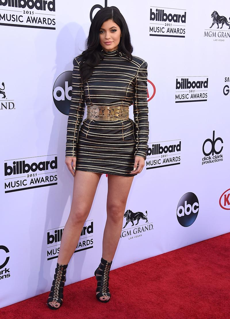 Completing the arc that brought her into Olivier Rousteing's fold, Kylie Jenner wears Balmain at the Billboard Music Awards in Las Vegas, Nevada, May 2015.