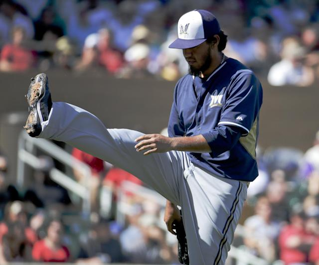 Milwaukee Brewers starting pitcher Yovani Gallardo kicks up his leg after the end of the fourth inning against the Arizona Diamondbacks during a spring exhibition baseball game in Scottsdale, Ariz., Sunday, March 16, 2014. (AP Photo/Chris Carlson)