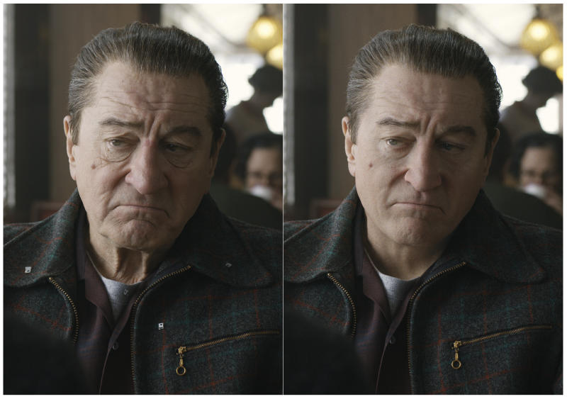 """This combination of photos shows actor Robert De Niro, left, during the filming of """"The Irishman"""" and the younger version of De Niro created by Pablo Helman, visual effects supervisor at Industrial Light and Magic. Helman and his team spent two years looking through old movies and cataloging the targeted ages that De Niro would appear in the film. (Netflix via AP)"""