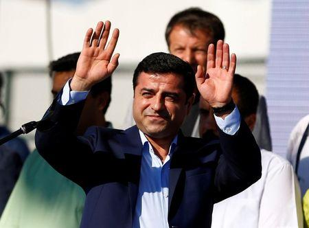 FILE PHOTO - Selahattin Demirtas, co-leader of the pro-Kurdish Peoples' Democratic Party (HDP), greets the crowd during a peace rally to protest against Turkish military operations in northern Syria, in Istanbul, Turkey, September 4, 2016. REUTERS/Osman Orsal/File Photo