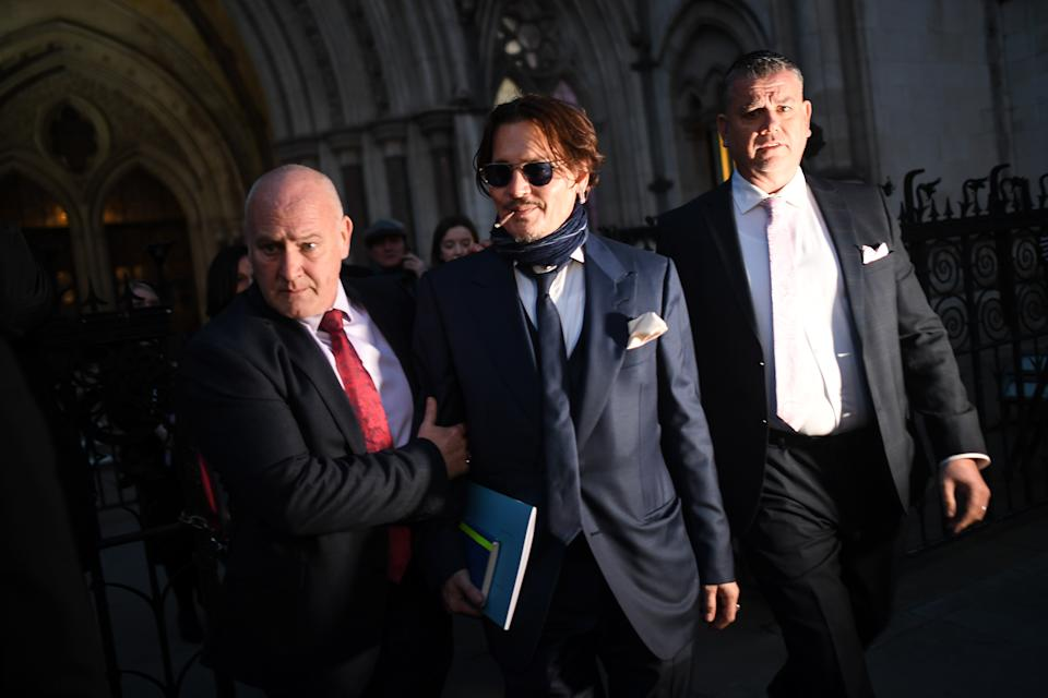 LONDON, ENGLAND - FEBRUARY 26: Johnny Depp is seen leaving the Royal Courts of Justice on February 26, 2020 in London, England. The Hollywood actor is suing The Sun newspaper over claims he beat up his ex-wife Amber Heard. (Photo by Peter Summers/Getty Images)