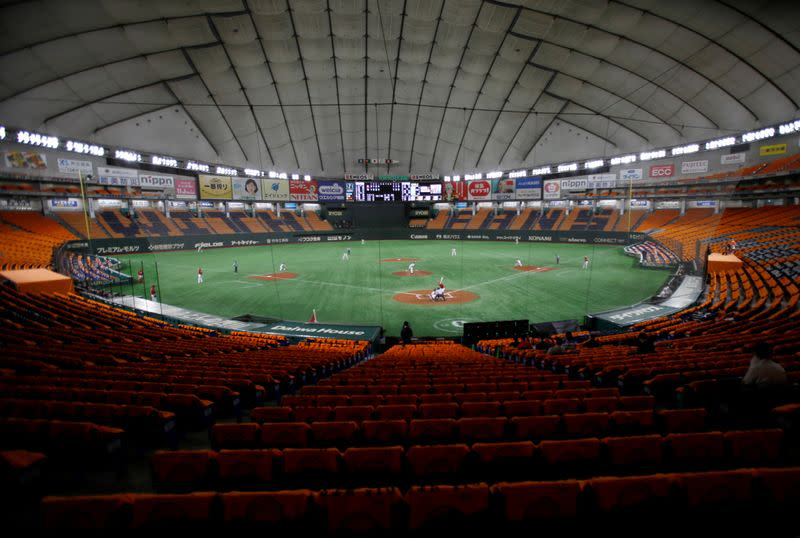 Baseball game held without spectators due to the spread of the coronavirus disease (COVID-19) at Tokyo Dome in Tokyo