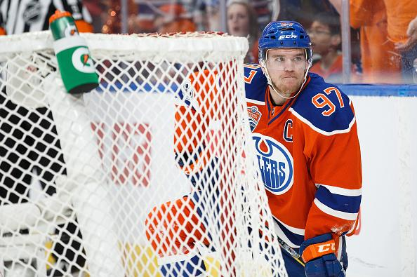 EDMONTON, AB - MAY 7: Connor McDavid #97 of the Edmonton Oilers makes a face behind the net of the Anaheim Ducks in Game Six of the Western Conference Second Round during the 2017 NHL Stanley Cup Playoffs at Rogers Place on May 7, 2017 in Edmonton, Alberta, Canada. (Photo by Codie McLachlan/Getty Images)