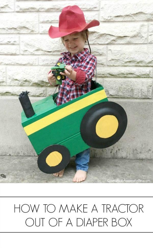 """<p>Let your little one be the cutest farmer ever this Halloween with a DIY tractor get-up. You can make it from a diaper box! </p><p><strong>Get the tutorial at <a href=""""https://www.creatingreallyawesomefunthings.com/cardboard-box-tractor/"""" rel=""""nofollow noopener"""" target=""""_blank"""" data-ylk=""""slk:C.R.A.F.T."""" class=""""link rapid-noclick-resp"""">C.R.A.F.T.</a></strong></p><p><a class=""""link rapid-noclick-resp"""" href=""""https://go.redirectingat.com?id=74968X1596630&url=https%3A%2F%2Fwww.walmart.com%2Fip%2FWonder-Nation-Baby-and-Toddler-Boy-Plaid-Flannel-Button-Up-Shirt%2F547783586&sref=https%3A%2F%2Fwww.thepioneerwoman.com%2Fholidays-celebrations%2Fg33925966%2Fwestern-halloween-costumes%2F"""" rel=""""nofollow noopener"""" target=""""_blank"""" data-ylk=""""slk:SHOP KIDS FLANNEL SHIRT"""">SHOP KIDS FLANNEL SHIRT</a></p>"""