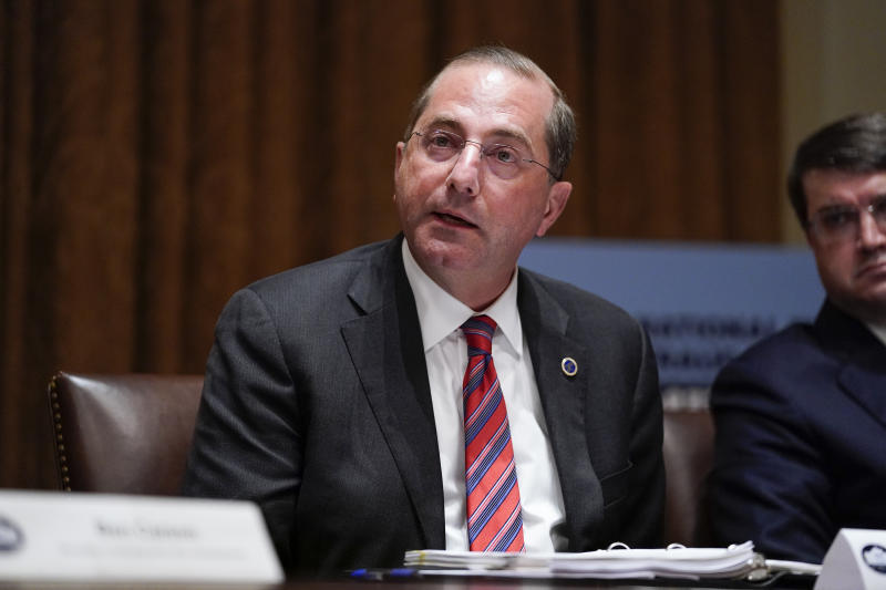 Health and Human Services Secretary Alex Azar speaks during a roundtable with President Donald Trump about America's seniors, in the Cabinet Room of the White House, Monday, June 15, 2020, in Washington. (AP Photo/Evan Vucci)