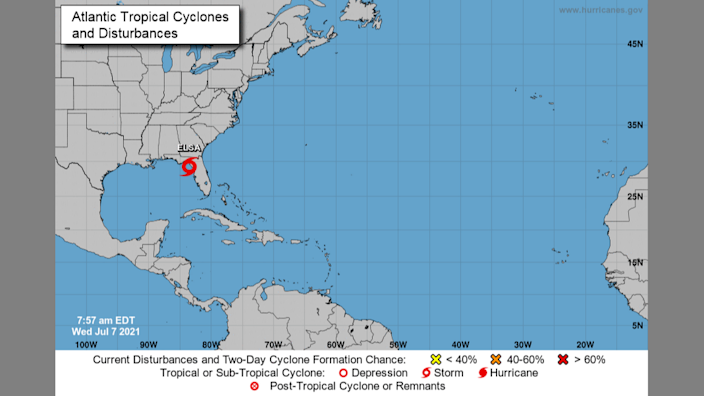 A map from the National Hurricane Center shows Tropical Storm Elsa's location as of 8 a.m. Wednesday.