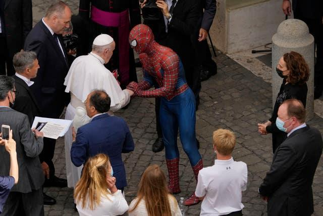 Pope Francis meets 'Spider-Man' at the end of his weekly general audience