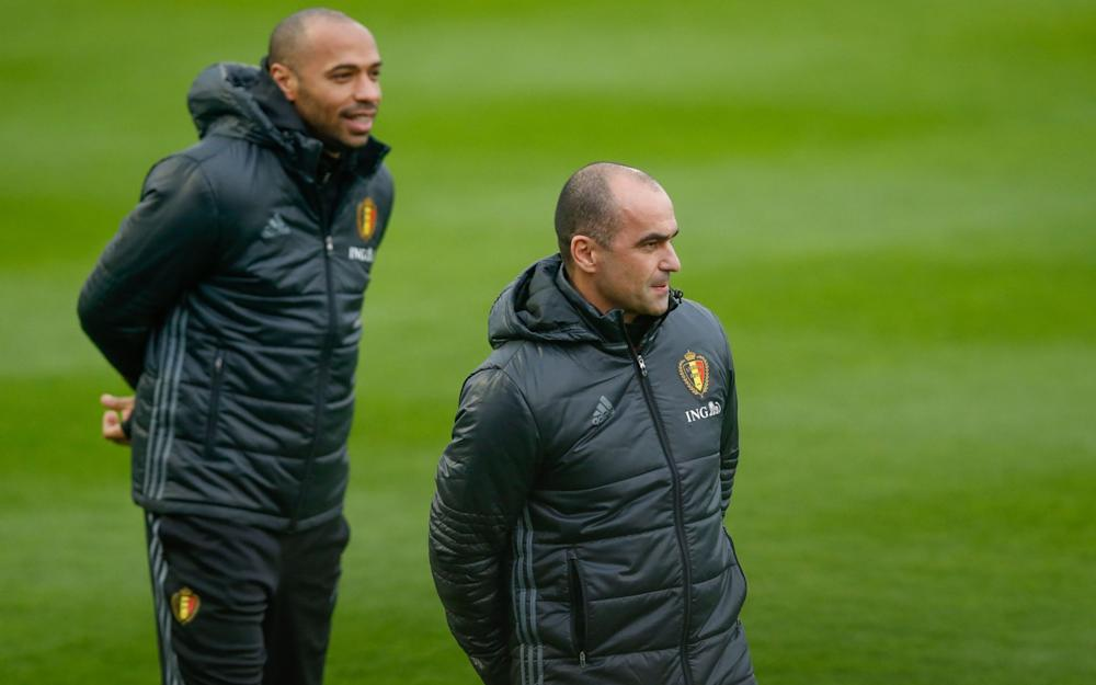 Martinez and Henry during a Belgium training session