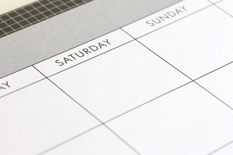 weekend calendar showing saturday and sunday