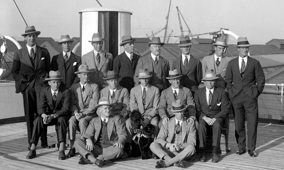 South Africa's touring squad on board the Arundel Castle at Southampton