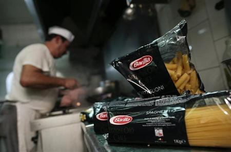 Packs of Barilla pasta are seen in the kitchen of a restaurant in Rome