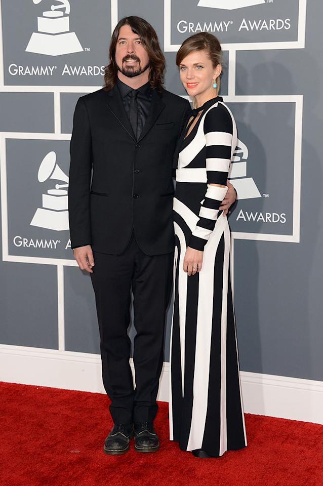 Dave Grohl and wife Jordyn Blum arrive at the 55th Annual Grammy Awards at the Staples Center in Los Angeles, CA on February 10, 2013.