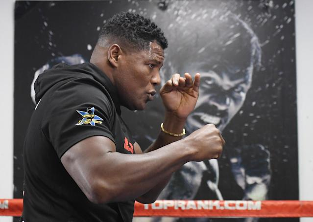 Luis Ortiz shadowboxes during a media workout at Las Vegas Fight Club on Oct. 31, 2019 in Las Vegas. (Photo by Ethan Miller/Getty Images)