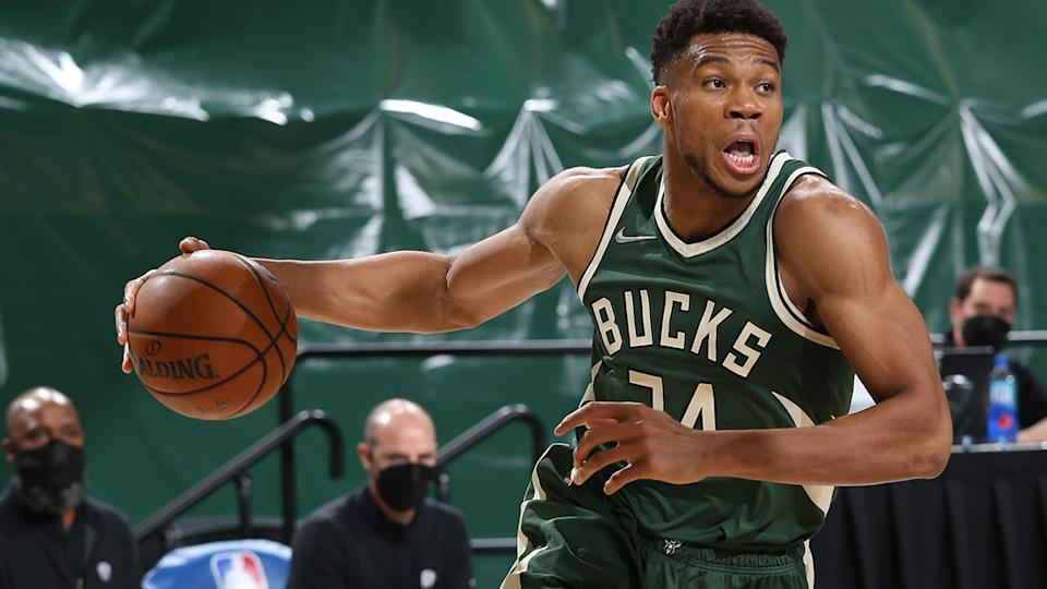 A massive game from Giannis Antetokounmpo steered the Milwaukee Bucks to a crucial win over the Brooklyn Nets on Monday. (Photo by Gary Dineen/NBAE via Getty Images).