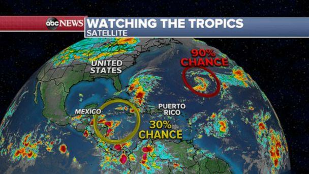 PHOTO: A second disturbance is expected to develop in the western Caribbean in the next 5 days with a 30% chance of development. (ABC News)