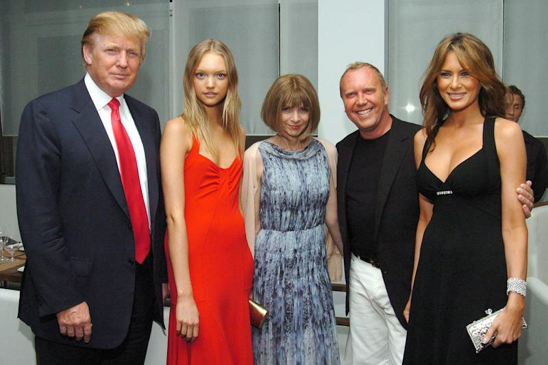 Donald Trump, Gemma Ward, Anna Wintour, Michael Kors and Melania Trump attend a party for Michael Kors on June 9, 2005, in New York City. (Patrick McMullan via Getty Images)