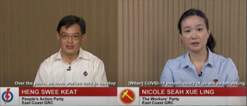 GE2020: DPM Heng Swee Keat-led People's Action Party team versus Nicole Seah-led Workers' Party team in East Coast GRC speaking at a constituency political broadcast on 4 July 2020. (SCREENSHOTS: Mediacorp/YouTube)