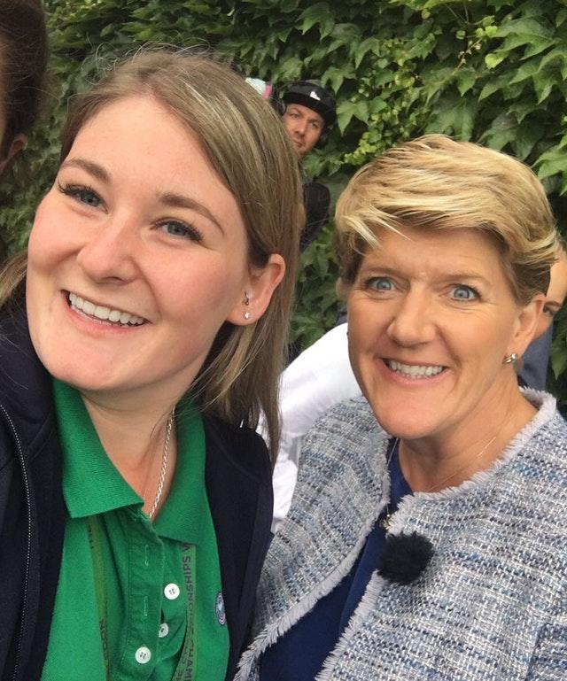 Emily with Clare Balding