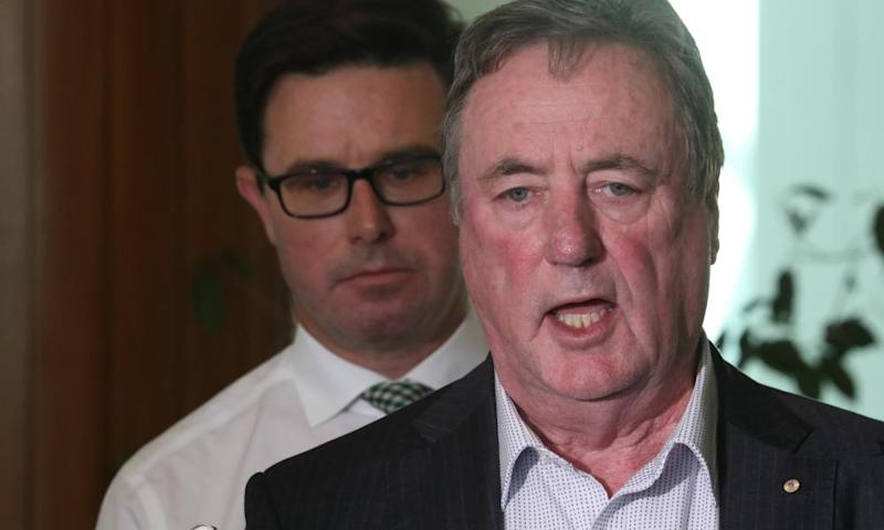 David Littleproud, left, with the Murray-Darling Basin inspector general Mick Keelty at a press conference in Parliament House