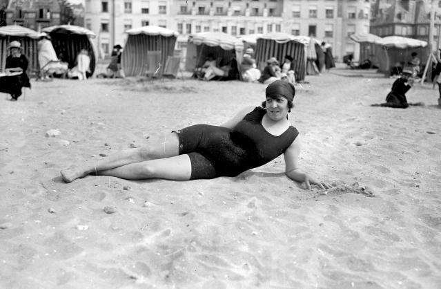 Swimmer on the beach, Deauville, France, 1920. (Photo: Maurice-Louis Branger/Roger Viollet/Getty Images)