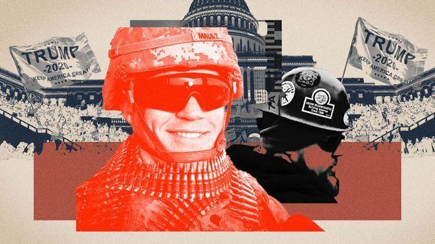 James Maultwas photographed spraying police with a chemical agent while officers were under siege by a violent mob of Trump supporters at the U.S. Capitol on Jan. 6. (Photo: Illustration: Damon Dahlen/HuffPost; Photos: Getty/Facebook)