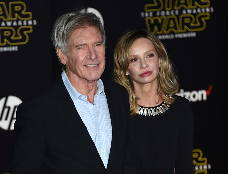 "HOLLYWOOD, CA - DECEMBER 14: Actor Harrison Ford (L) and actress Calista Flockhart attend the premiere of Walt Disney Pictures and Lucasfilm's ""Star Wars: The Force Awakens"" at the Dolby Theatre on December 14, 2015 in Hollywood, California. (Photo by Ethan Miller/Getty Images)"