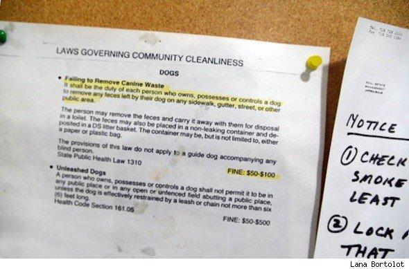 posted rules on laws governing community cleanliness