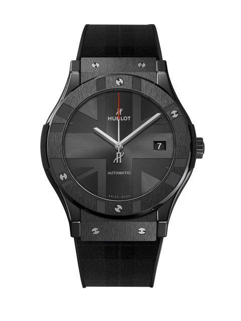 """<p> Classic Fusion Special Edition 'London'</p><p><a class=""""link rapid-noclick-resp"""" href=""""https://www.hublot.com"""" rel=""""nofollow noopener"""" target=""""_blank"""" data-ylk=""""slk:SHOP"""">SHOP</a></p><p>Designed in tribute to the UK's capital, this limited edition is a showcase for Hublot's core USP: statement-led design and technical prowess. For the former, see the sunray-finished racing grey dial engraved with a Union Jack motif, the caseback decorated with 'Hublot Loves London' and the black rubber strap with its City of London tartan theme. For the latter, see the 45mm black ceramic case, the hefty 42-hour power reserve and the watch's 10 signature 'H' screws set into the bezel and case in contrasting polished titanium.</p><p>£9,500; <a href=""""https://www.hublot.com/en/"""" rel=""""nofollow noopener"""" target=""""_blank"""" data-ylk=""""slk:hublot.com"""" class=""""link rapid-noclick-resp"""">hublot.com</a></p>"""