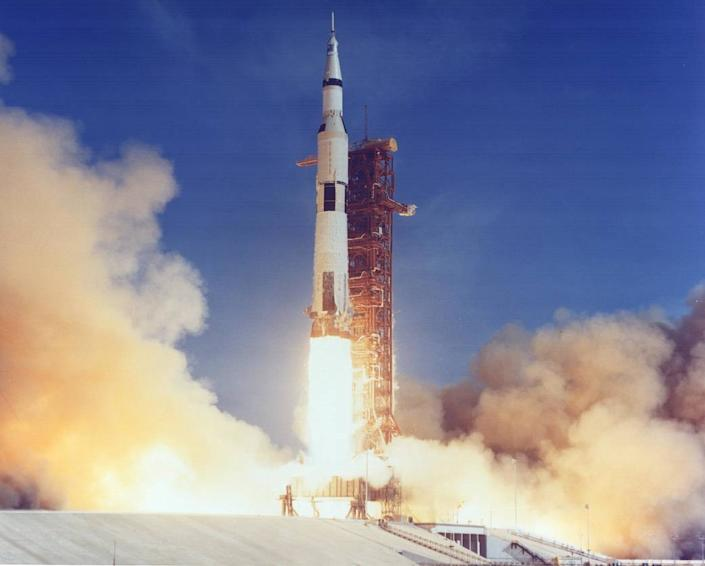 The Apollo 11 Saturn V lifts off with astronauts Neil Armstrong, Michael Collins and Edwin