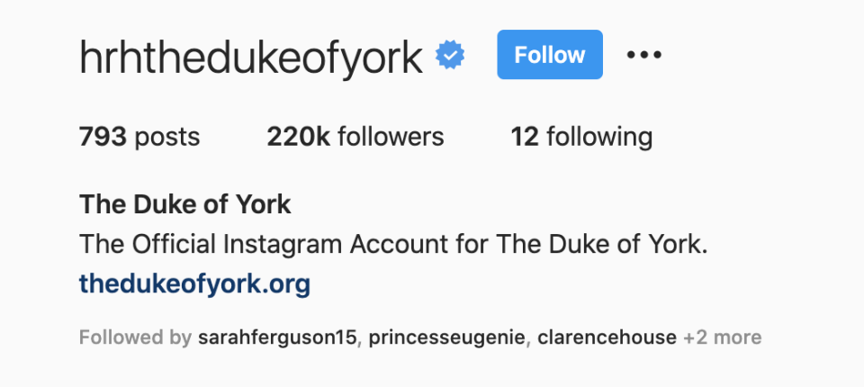 The Duke's instagram account also direct to his main website. (Instagram)