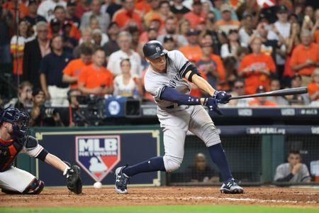FILE PHOTO: Oct 21, 2017; Houston, TX, USA; New York Yankees right fielder Aaron Judge (99) strikes out in the eighth inning during game seven of the 2017 ALCS playoff baseball series against the Houston Astros at Minute Maid Park. Thomas B. Shea-USA TODAY Sports