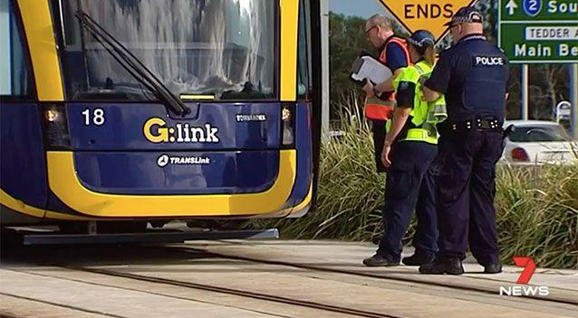 The deflector bar at the bottom of the tram prevented more serious injuries. Source: 7 News