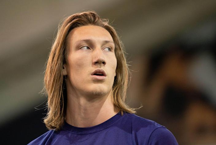 Trevor Lawrence works out during his pro day on Feb. 12.